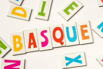 word basque made of colorful letters
