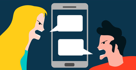 Conceptual vector illustration with woman and boy quarreling by smartphone technology conversation mobile