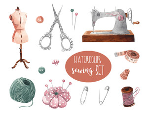 Watercolor sewing set for design. Watercolor hand-drawn illustration on white isolated background