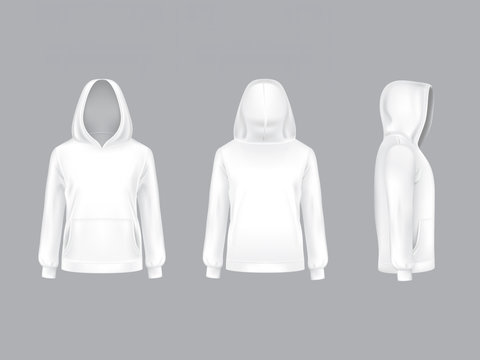 Vector 3d realistic white hoodie with long sleeves and pockets, casual unisex model, sportswear, sweatshirt with hood isolated on background. Mockup for clothes design, front, rear and side view