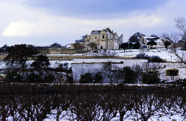 rural countryside puglia countryside with dry walls and masseria sprinkled with snow