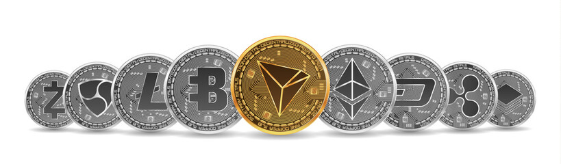 Set of gold and silver crypto currencies with golden tron in front of other crypto currencies as leader isolated on white background. Vector illustration. Use for logos, print products