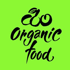 Hand drawn Eco friendly lettering. Vector Bio organic food sign.