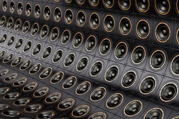 Background from loudspeakers, 3D rendering