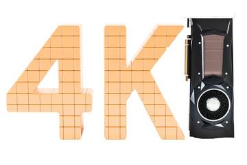 4K high resolution, computer video card GPU, 3D rendering