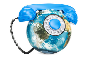 Earth Globe in the shape of phone, global communication concept. 3D rendering
