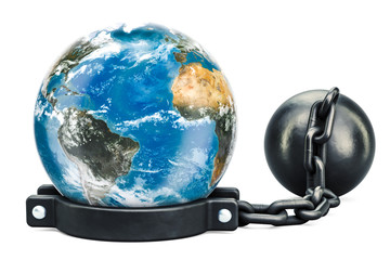 Earth Globe with prison shackle, 3D rendering