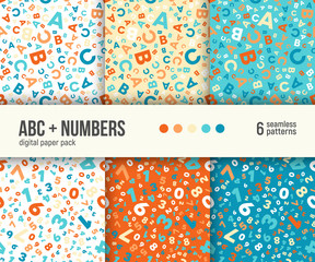 ABC and math background for kids education. Digital paper pack, set of 6 abstract geometric backgrounds. Seamless vector patterns collection.
