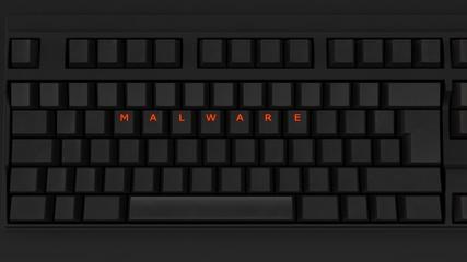 Close Up of Illuminated Glowing Keys on a Black Keyboard Spelling Malware 3d illustration - fototapety na wymiar