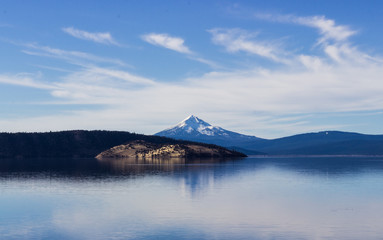 Mount Mcloughlin reflecting on a lake in Oregon.
