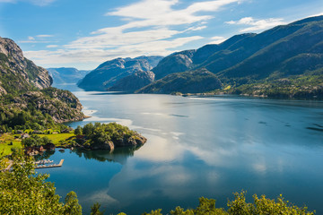 Norwegian fjord and mountains Lysefjord, Norway.