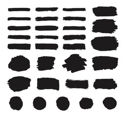 Set of black grunge hand paint, round shapes, stripes, ink brush strokes, hand drawn texture painted circles, brushes, lines isolated on white background