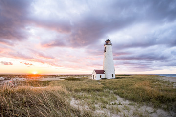 Nantucket lighthouse at sunset, Massachusetts, USA