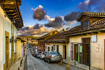 Mexico. San Cristobal de las Casas  (state of Chiapas). Spanish colonial style with narrow cobblestone streets and facades of the buildings painted in various colors