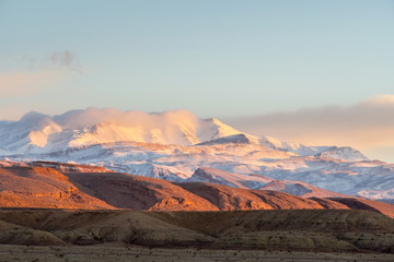 Sunrise over snow covered Atlas Mountains, Souss-Massa, Morocco