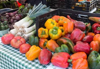 Organic produce at outdoor farmers Market