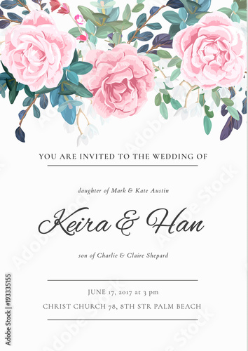 The classic design of a wedding invitation with flowering roses the classic design of a wedding invitation with flowering roses plants white flowers and mightylinksfo