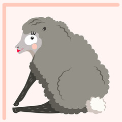 Funny cartoon sheep with make up. Vector illustration