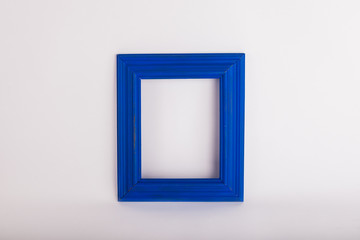 Blue picture frame on white background