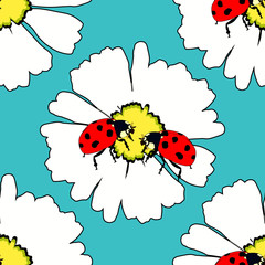 seamless pattern is ladybug insect nature on daisy flower vector illustration