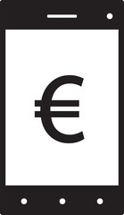 Euro currency icon or logo vector on a cell phone, mobile phone or Smartphone screen or display. Symbol for European Union bank, banking or Europe Eurozone finances.