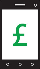 Pound Sterling currency icon or logo vector on cell, mobile phone or Smartphone screen or display. Symbol for United Kingdom or Great Britain and England bank, banking or British and English finances