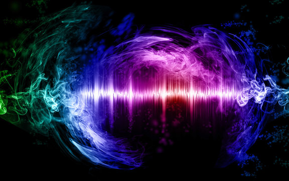 Music abstract concept illustration, sound wave and smoke colored and glowing, graphic resource