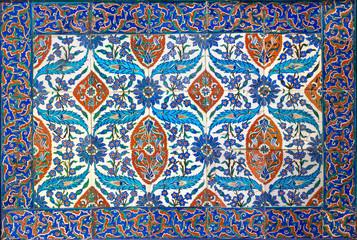 Ottoman era style glazed ceramic tiles from Iznik (Turkey) decorated with floral ornamentations