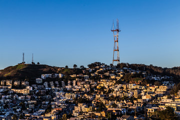 Twin peaks view at sunrise.