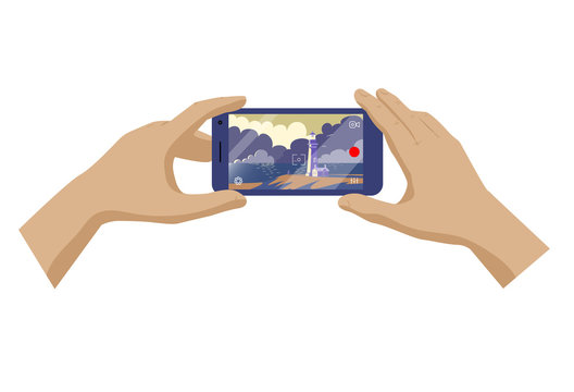 Hands of travel man making photo or video of landscape with lighthouse and sea on smartphone. Vector illustration.