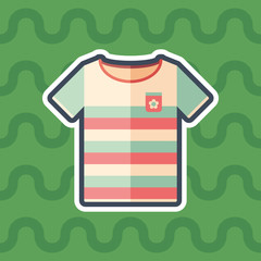 Beach t-shirt sticker flat icon with color background.