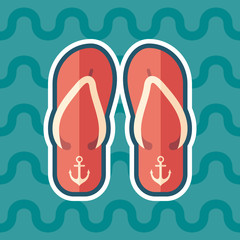 Beach slippers sticker flat icon with color background.