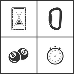 Vector Illustration of Sport Set Icons. Elements of Pool table, Carabiner, Pool ball and Stopwatch icon