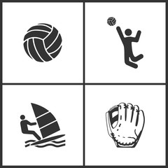 Vector Illustration of Sport Set Icons. Elements of Ball, Volleyball, Windsurfing and Baseball glove  icon