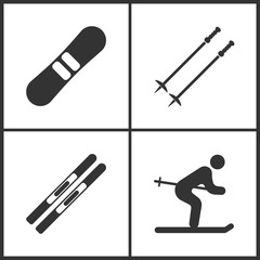 Vector Illustration of Sport Set Icons. Elements of Snowboard, Ski poles, Skis and Ski icon