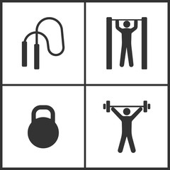 Vector Illustration of Sport Set Icons. Elements of The skipping rope, Horizontal bar and man, Dumbbell and Weightlifter icon