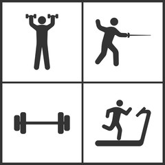 Vector Illustration of Sport Set Icons. Elements of Human with dumbbells, Fencings, Barbell and Treadmill icon
