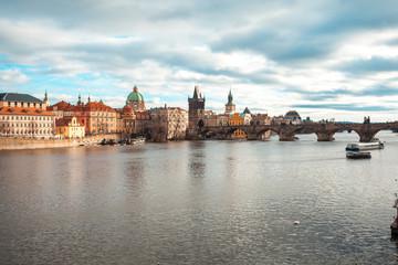 Vltava river and Charles bridge in Prague, Czech Republic