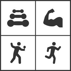 Vector Illustration of Sport Set Icons. Elements of Dumbbell, Muscle arm, Table tennis player and Running man icon