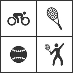 Vector Illustration of Sport Set Icons. Elements of Bicycle, Tennis, Tennis ball and Tennis player icon