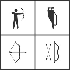 Vector Illustration of Sport Set Icons. Elements of Archer, Arrow quiver and Arrow and bow icon