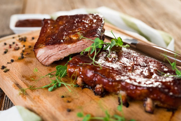 Poster Grill / Barbecue Smoked Barbecue Pork Spare Ribs