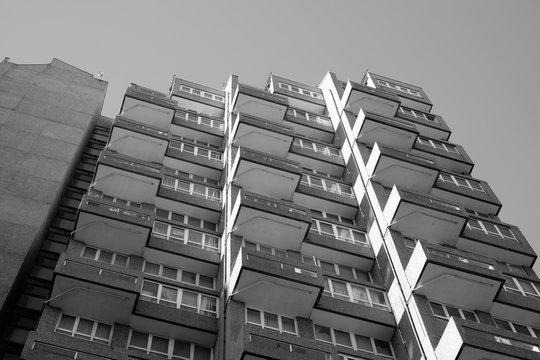 Council tower blocks of post war era manufactured from prefabricated concrete panels