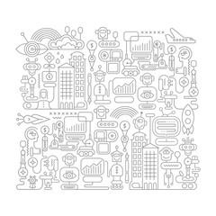 Robot City doodle line art