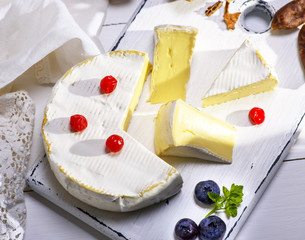 round Camembert cheese sliced