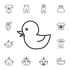 Rubber duck, baby toy icon. Set of baby element. Premium quality graphic design. Signs, outline symbols collection, simple thin line icon for websites,