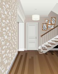 Vintage interior of the hallway with a staircase. Design of modern hallway. Symbol furniture, hallway illustration