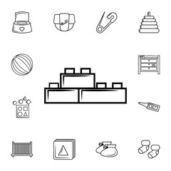 constructor bricks vector line icon. Set of baby element. Premium quality graphic design. Signs, outline symbols collection, simple thin line icon for websites,