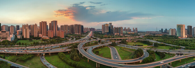 Zhengzhou Cityscape By Night, China