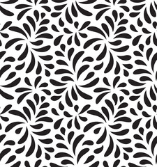 MODERN FLORAL SEAMLESS VECTOR PATTERN. DROP SHAPE NATURE BACKGROUND. LEAVES DECORATIVE TEXTURE.